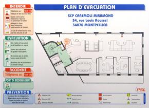 Plan d'évacuation avec consignes format A3 sur aluminium