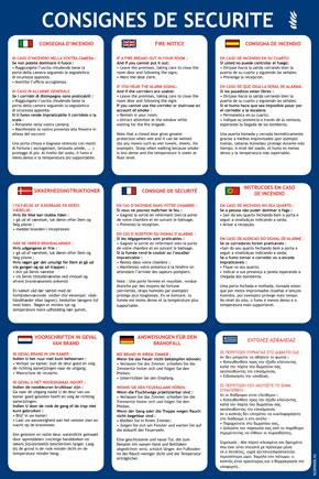 Consignes hôtel 9 langues format A4
