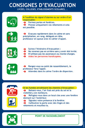 Consignes spécifiques évacuation établissements scolaires