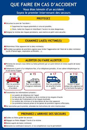 Consignes spécifiques conduite à tenir en cas d'accident