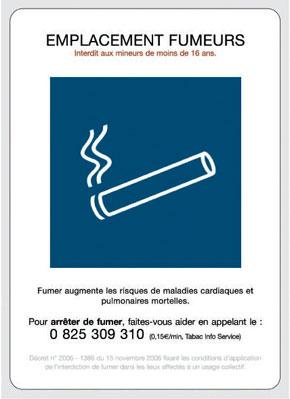 Panneau emplacement fumeurs